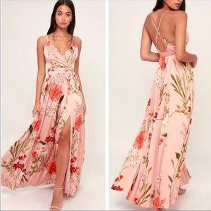 Lulu's Still The One Blush Satin Maxi Dress